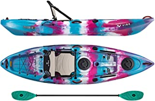 Vibe Kayaks Yellowfin 100 10 Foot Angler Recreational Sit On Top Light Weight Fishing Kayak (Jam Berry) with Paddle and Adjustable Hero Comfort Seat - Caribbean Blue Evolve Paddle
