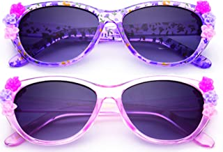 Newbee Fashion- Kids Girls Toddlers Fashion Sunglasses Cateye Cute Sunglasses with Flowers UV Protection w/Pouch (0-6 YRS)