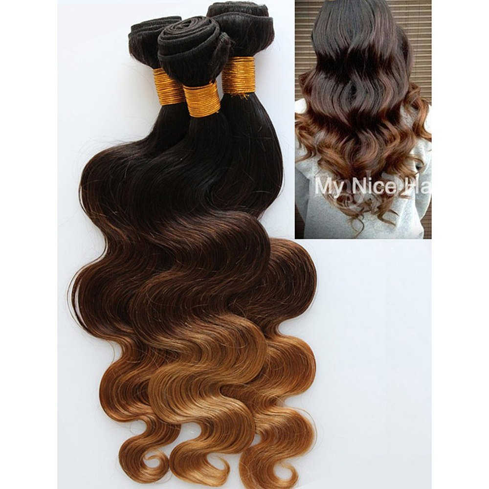 Overseas parallel import regular item MyNiceHair 3 Bundles lot 12 14 Om Three 16 Inches Tone Inventory cleanup selling sale Brazilian