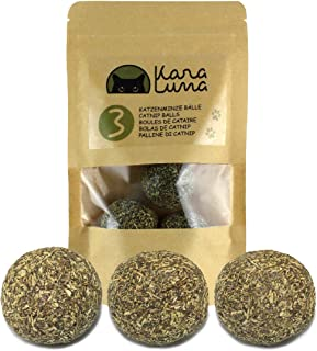 KaraLuna - Juego de 3 bolas de menta para gatos de menta gata, Catnip, juguete para gatos de menta prensada y seca, bolsa reutilizable