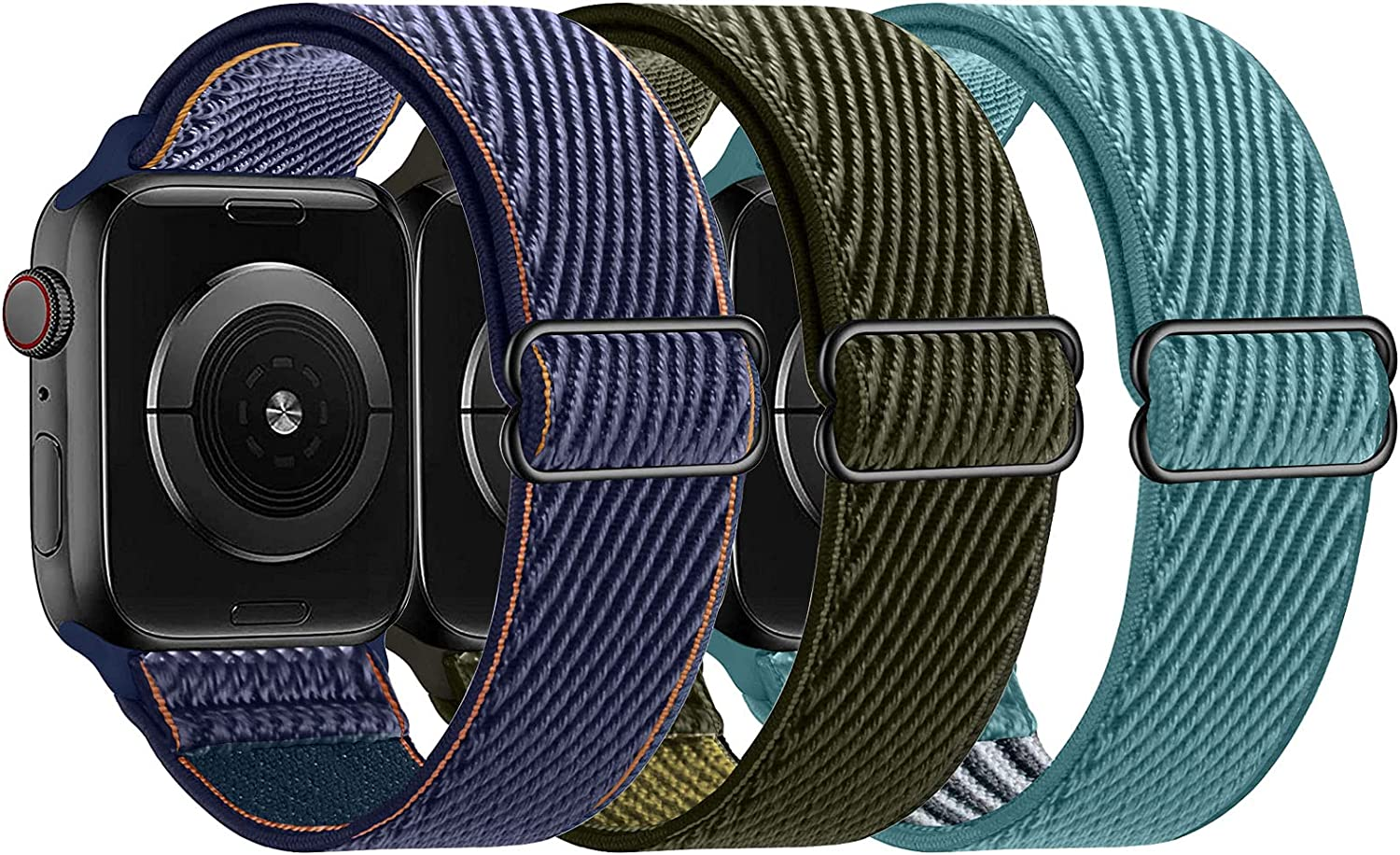 LANGXIAN 3 Pack Nylon Elastic Strap Compatible with Apple Watch Bands, Solo Loop Adjustable Stretch Braided Wristband for iWatch Series 6/5/4/3/2/1/SE, 42mm 44mm (Deep Navy/Army-Green/Celestial-Teal)