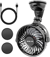 OPOLAR Mini Car & Kitchen USB Fan, Four Speeds, Strong Attraction on Windshield/Car Window, 360° Rotation, Cooling Fan for Sedan SUV RV Boat Auto Vehicles, Only USB Powered (Two Suction Bases)