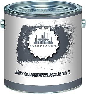 Lausitzer Farbwerke Metallschutzfarbe 3in1 Metallschutzlack 3-in-1 du sparst dir Anti-Rost-Produkte Metallfarbe Metalllack Farbe für Metall Stahl Eisen Zink Aluminium 2,5 L, Anthrazitgrau RAL 7016