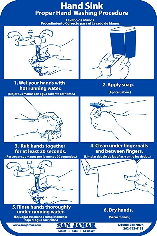 San Jamar HWWLCT Hand Washing Station Smart Chart 6 Width X 9 Height