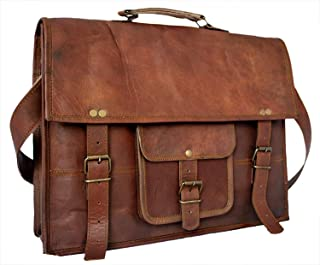 TUZECH Leather Bag Vintage Cross Body Messenger Courier Satchel Bag Gift Men Women ~ Business Work Briefcase Carry Laptop Computer Book Fits Laptop Up to 11 Inches