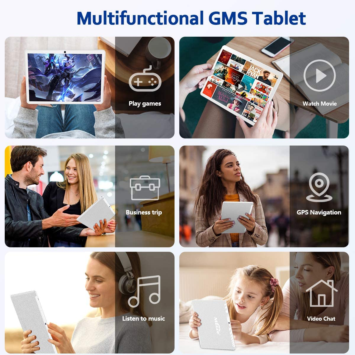 Android 10.0 Tablet 10 Inch, Octa-Core Processor, 1920x1200 HD Touchscreen Large Tablets with 13MP Rear Camera, 6000mAh Battery, 32GB ROM 128GB Expand Storage, WiFi, Bluetooth/GPS/FM/OTG
