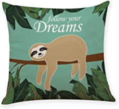 """Ihopes Funny Sloth Meditation Pattern Throw Pillow Covers Cotton Linen Cushion Cover Cases Pillowcases Sofa Home Decor 18""""x 18""""Inch (45 x 45cm), Funny Sloth Yoga Decor"""