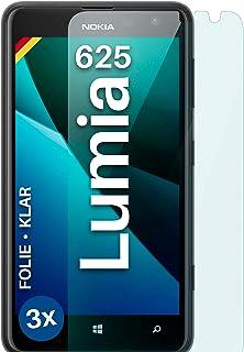 moex Klar skyddsfilm kompatibel med Nokia Lumia 625 – displayfolie kristallklar, HD-displayskydd, tunn reptålig folie, 3 st