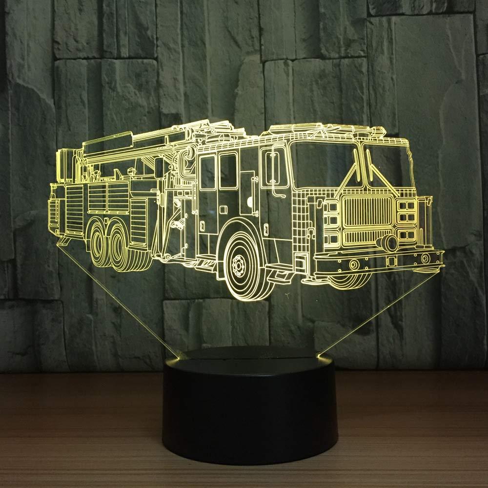 BFMBCHDJ Lámpara de mesa del coche del coche de bomberos 3D 7 ...