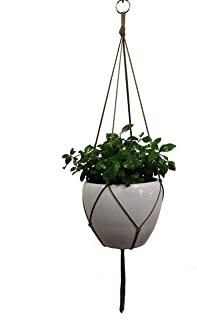 Hanpo 4 Legs Nylon Rope Plant Holders Coffee Color, 30-inches for 8-10