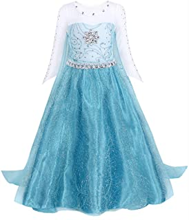 AmzBarley Girls Princess Elsa Fancy Dress Sequin Snowflake Cape Birthday Party Halloween Costume Dress Up Outfit 2-12 Years