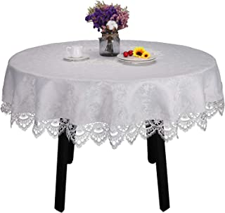 White lace Tablecloth for Round Table Wedding Party Home and Kitchen