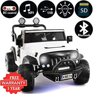 2019 Explorer 2 (Two) Seater 12V Kids Ride-On Car Truck with R/C Parental Remote + EVA Rubber LED Wheels + Leather Seat + MP3 Player Bluetooth FM Radio + LED Lights (1 Year Warranty) (White)
