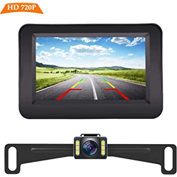 Tonew Backup Camera for Trucks and 7 inch Monitor Kit Dashcams for Cars Front and Rear Night Vision,IP68 Waterproof Rear View Camera for Truck//RV//Trailer//Bus//Vans//Vehicle