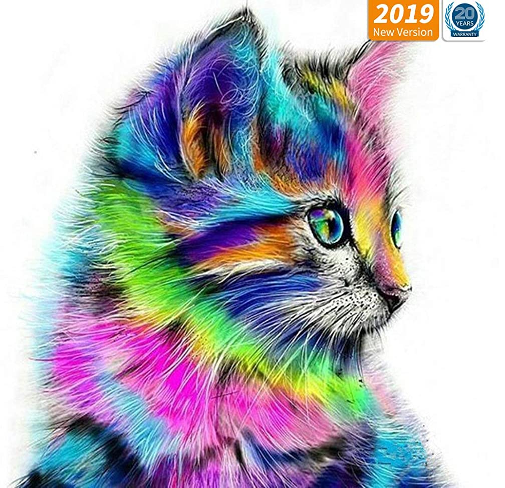 Diamond Painting Kits for Adults, DIY 5D Diamond Painting Kit Full Drill Colorful Cat Embroidery Rhinestone Arts Craft Canvas for Home Wall Decor, 11.8 x 15.8 inch