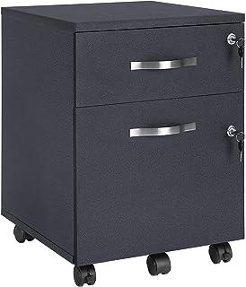 VASAGLE Caisson de Bureau, Caisson de Rangement, Classeur, Armoires Basses, 2 tiroirs pour Dossiers Suspendus, Noir LCD22BV1
