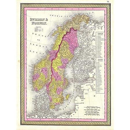 MAP ANTIQUE SCANDINAVIA NORWAY SWEDEN FINLAND ART PRINT POSTER BB8213