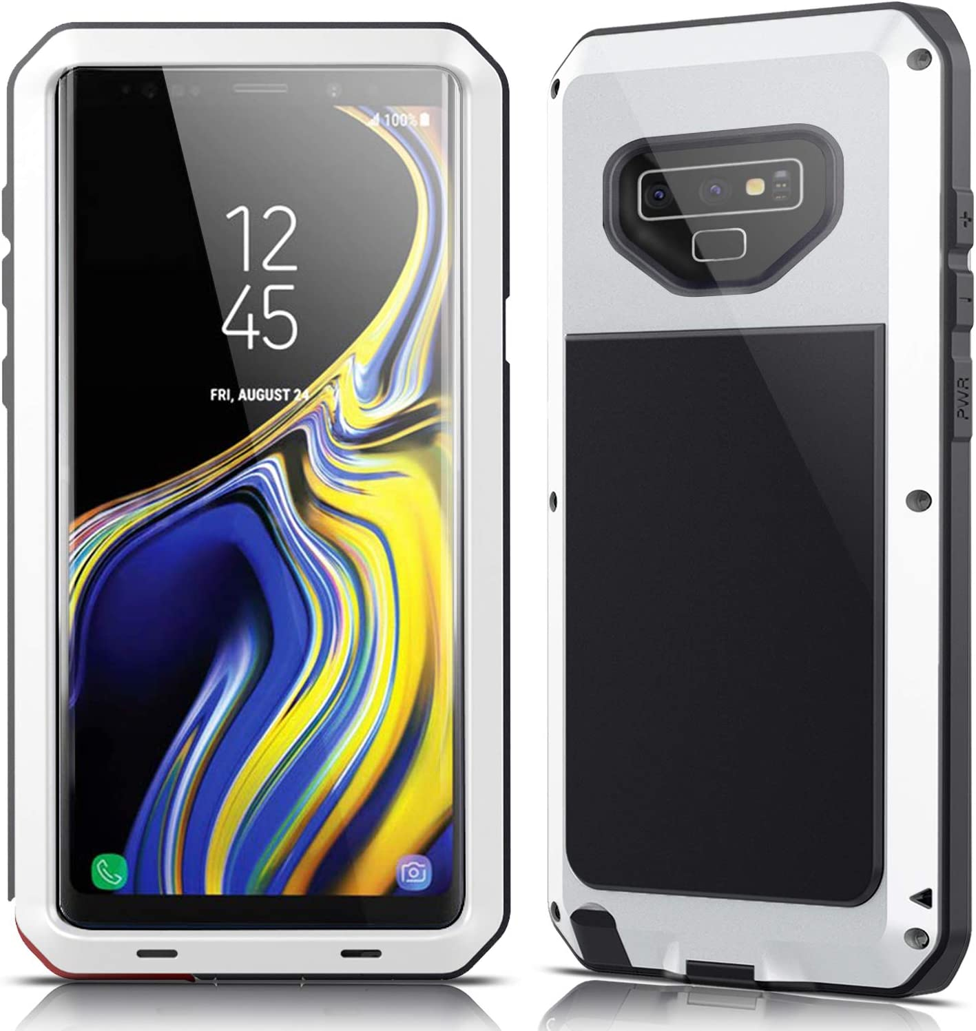 Galaxy Note 9 Case,Lilycase Armor Heavy Duty Hybrid Aluminum Metal Shockproof Military Shockproof Hard Cover for Samsung Galaxy Galaxy Note 9 Newest - White