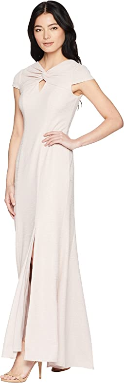 Petite Twist Neck Long Stretch Crepe Gown