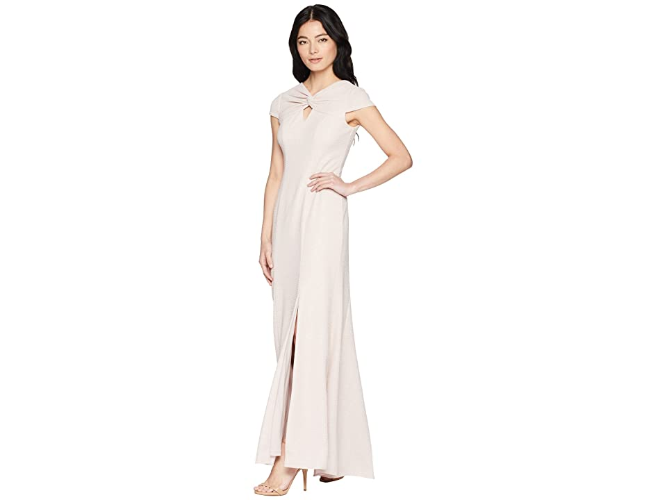Adrianna Papell Petite Twist Neck Long Stretch Crepe Gown (Blush) Women
