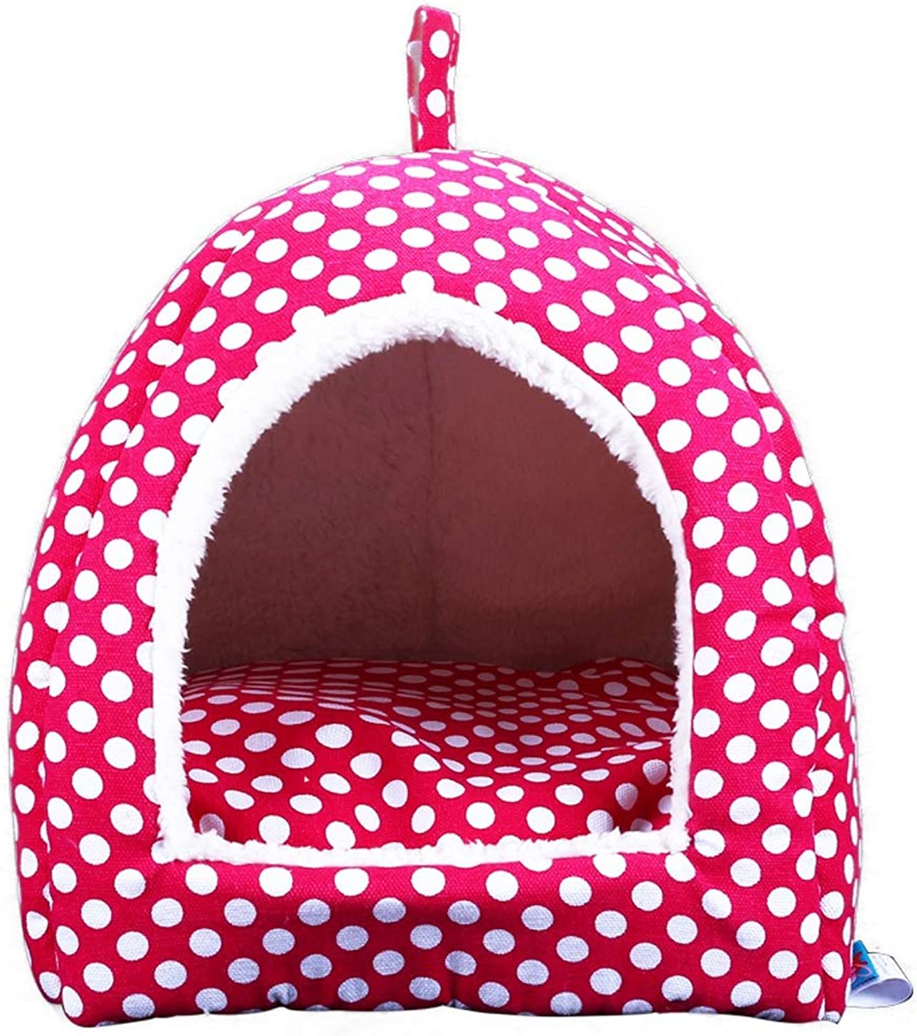 Kennel QIQIDEDIAN Pet Teddy Cat Litter Small Dog golden Hair Large Dog Pet Puppy Daily Necessities Yurt Nest (color   pink Red, Size   L 45  45  41cm)