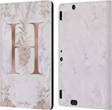 Official Nature Magick Letter H Rose Gold Marble Monogram Leather Book Wallet Case Cover Compatible for Amazon Kindle Fire HDX 8.9