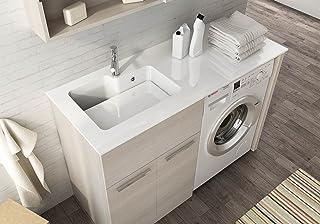 Meuble pour machine à laver avec lavabo intégré, L127 cm P50 cm, Lavabo en Ocritech, Baignoire intégrée, Top bois L62 P50,...