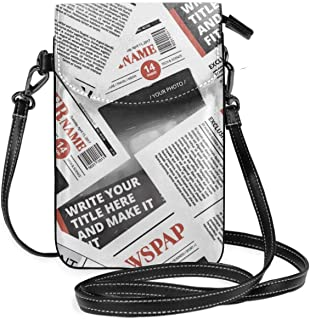 Newspaper Print Women Cute Small Crossbody Bag Cell Phone Purse Wallet