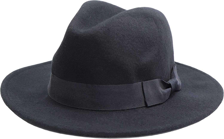 jiaoji Men's and Women's Wool Bowler Hats Panama Hats Wool Hats Wide Brimmed Cowboy Hats for Beach Churches Black
