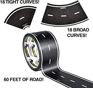 """PlayTape 60' x 2"""" Black Road Starter Pack - Includes 2"""" Street Curves - Tape Toy Car Track For Kids - Sticker Roll for Ca..."""