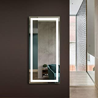 DP Home Makeup Wall-Mounted Mirrors, LED Backlit Frameless Wall Mirror, HotelBathroom Vanity Mirror with Infrared Sensor, 60 x 28 in (E-CK010-CG)
