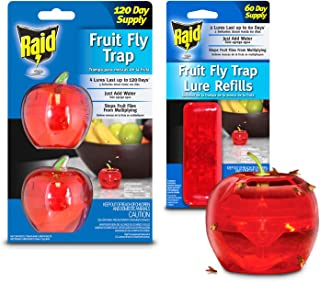 Raid Fruit Fly Trap (2-Pack) + Refill Bundle, 180-day Supply of Fruit Fly Traps, Plastic Fruit Fly Catcher, Reusable Gnat Trap, Non Toxic Insect Killer Traps w/Bonus Food-Based Fruit Fly Lure Refills