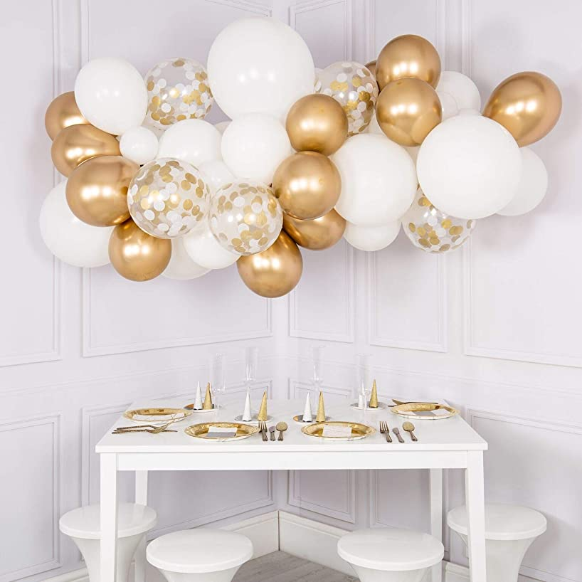 60pcs DIY Balloons Garland with Gold and White Balloons Confetti Balloons Chrome Shiny Metallic Latex Balloons Perfect for Birthday Party Bridal Baby Shower Engagement Wedding Party Decor (Gold)