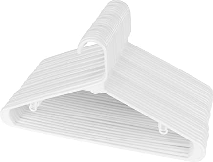 Utopia Home 30-Pack Plastic Hangers for Clothes Space Saving Tubular Hangers - White