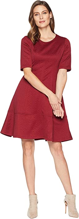 Jacquard Elbow Sleeve Fit & Flare Dress