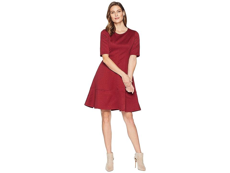 London Times Jacquard Elbow Sleeve Fit Flare Dress (Wine) Women
