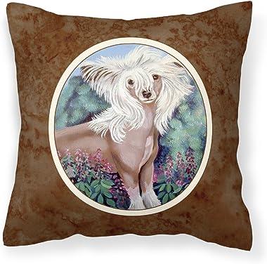 Caroline's Treasures 7052PW1414 Chinese Crested Fabric Decorative Pillow, 14Hx14W, Multicolor