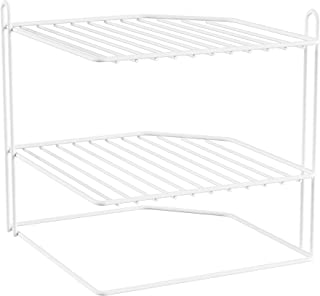 Two-Tiered Corner Shelf – Powder Coated Iron Space Saving Storage Organizer for Kitchen, Bathroom, Office or Laundry Room ...