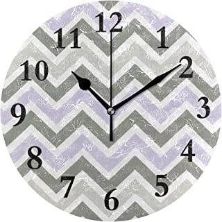 NMCEO Wall Clock Lilac and Slate Gray Chevron Round Hanging Clock Acrylic Battery Operated Wall Clocks for Home Decor Creative