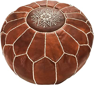 Marrakesh Gallery Moroccan Pouf - Genuine Goatskin Leather - Bohemian Living Room Decor - Hassock & Large Ottoman Footstool Cover Pouf - Unstuffed