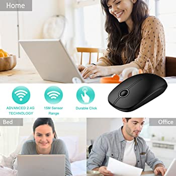 Jelly Comb 2.4G Slim Wireless Mouse with Nano Receiver, Less Noise, Portable Mobile Optical Mice for Notebook, PC, La...