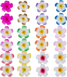 Mudder 24 Pieces Hawaiian Plumeria Flower Hair Foam Hawaii Hair Clips (2.4 Inch)