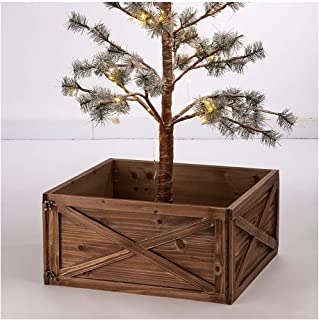 Glitzhome Natural Wooden Tree Collar Christmas Tree Skirt Tree Box Tree Stand Cover, 22
