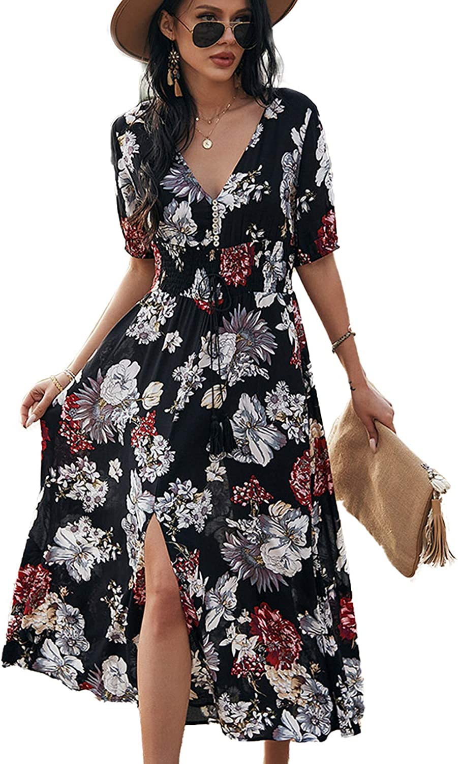 BROVAVE Womens Summer Casual Short Sleeve Floral Print Bohemian V Neck Flowy Midi Maxi Dress with Slit