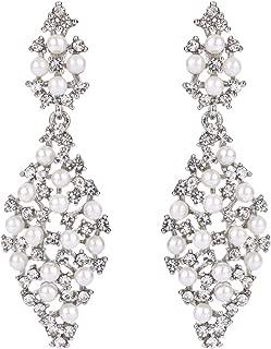 Women's Bohemian Boho Crystal Simulated Pearl Rhombus Cluster Beaded Hollow Dangle Earrings