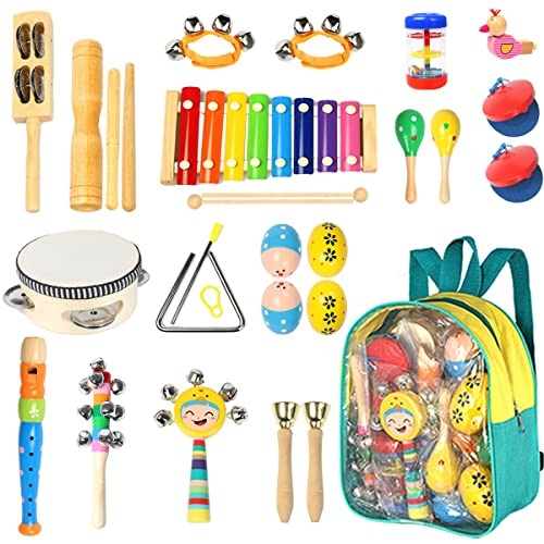Toddler Musical Instruments Ehome 15 Types 22pcs Wooden Percussion Toy For Kids Preschool Educational