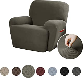 MAYTEX Pixel Ultra Soft Stretch 4 Piece Recliner Arm Chair Furniture Cover Slipcover with Side Pocket, Dusty Olive Green