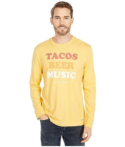 Life is Good Tacos Beer Music Long Sleeve Crushertm Tee (Baja Yellow) Men