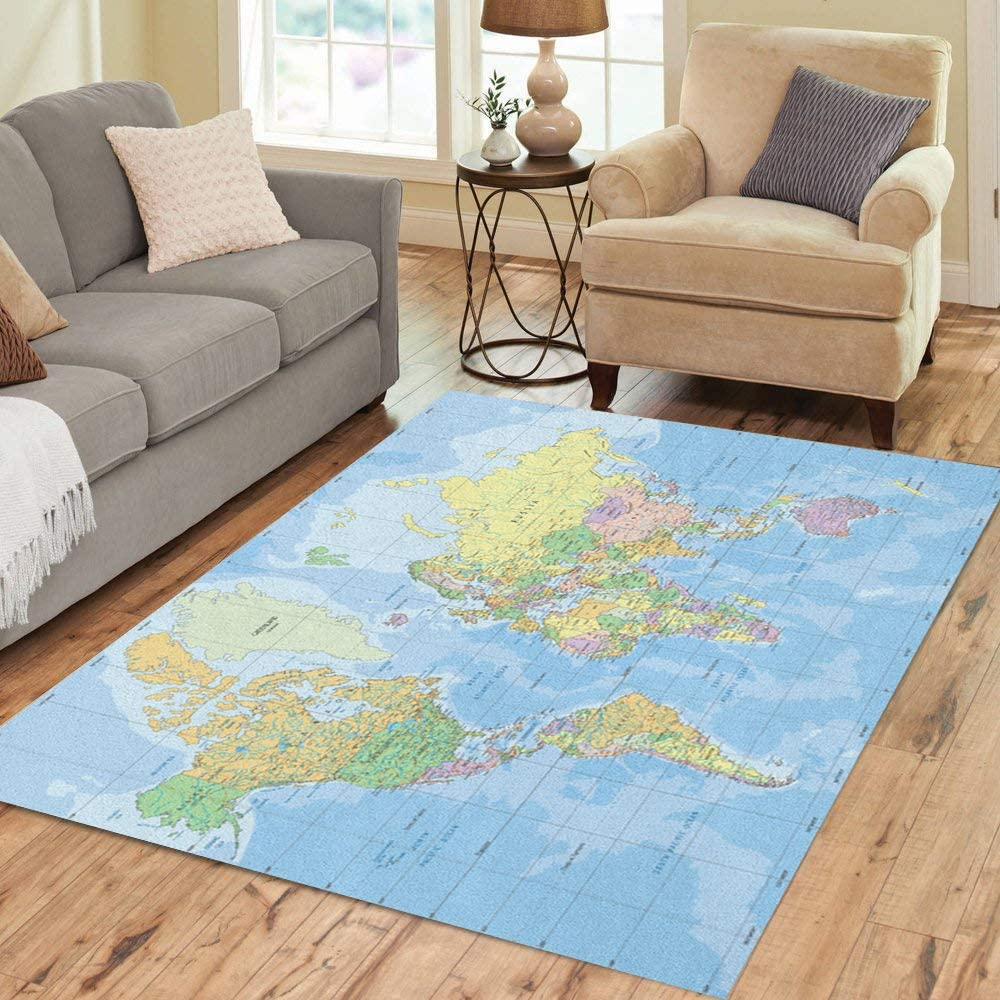 Pinbeam Area Rug Blue Quality inspection Africa Political Pro Map in Mercator outlet World