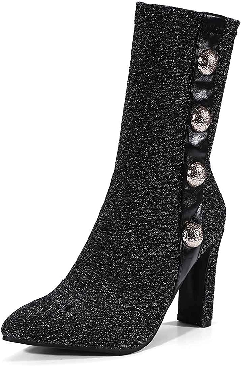 Unm Women's Stretchy Pointy Toe Mid Calf Boots - Outdoor Block High Heel - Dressy Beaded Pull On Half Boots